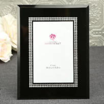 Black Glass And Silver Sparkling Inlay Photo Frame